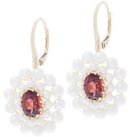 Honora Gemstone and Pearl Flower Earrings, 14KGold