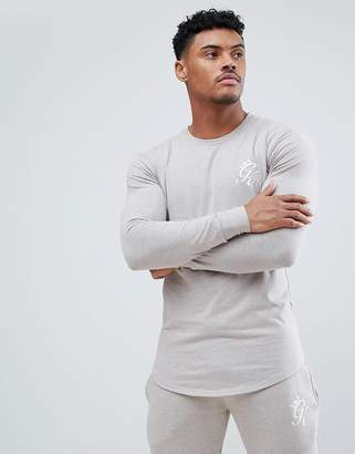 Gym King Logo Muscle Fit Long Sleeve Top In Oatmeal Marl