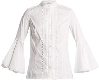 Oscar de la Renta Ric Rac Trimmed Cotton Blend Blouse - Womens - White