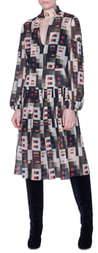 Akris Colorama Print Long Sleeve Silk Midi Dress
