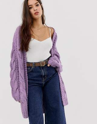 Moon River mixed cable knit cardigan