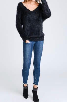 Love Tree Twist-Knot-Back Fuzzy Sweater
