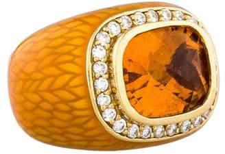 7.31ctw Citrine & Diamond Cocktail Ring