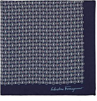 Salvatore Ferragamo Men's Interlocking-Gancio-Print Silk Pocket Square