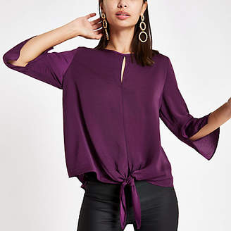 River Island Dark purple tie front blouse