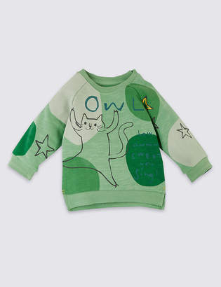 Marks and Spencer Pure Cotton Owl Star Sweatshirt