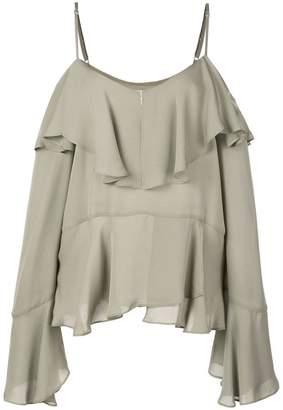 87e4f466ed4cd0 Nicole Miller ruffled off shoulder blouse