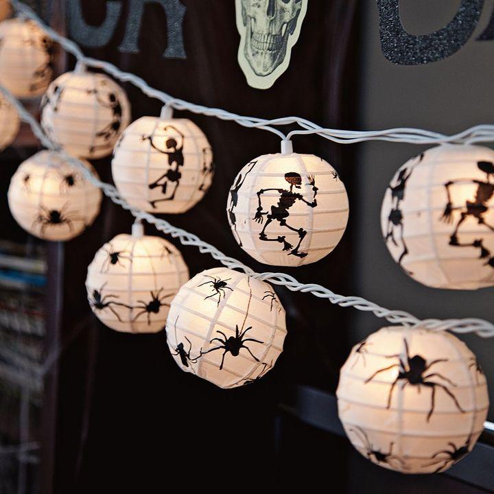 Skeleton + Spider Paper Lantern String of Lights