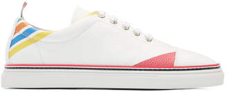 Thom Browne White Repp Stripe Straight Toe Cap Sneakers