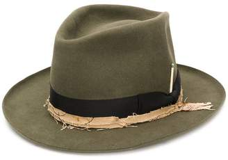Nick Fouquet frayed ribbon fedora hat