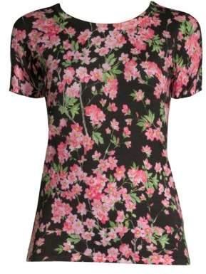 Escada Floral-Print Wool & Silk Tee