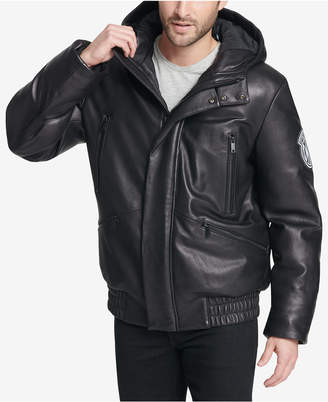 DKNY Men's Leather Bomber Jacket, Created for Macy's