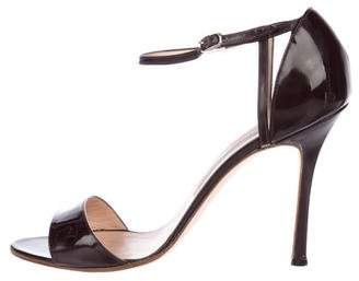 Manolo Blahnik Patent Leather Ankle Strap Sandals
