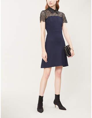 Sandro Crochet-collar crepe dress