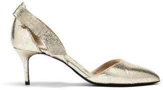 Oscar de la Renta Cracked Metallic Leather Iris Pumps