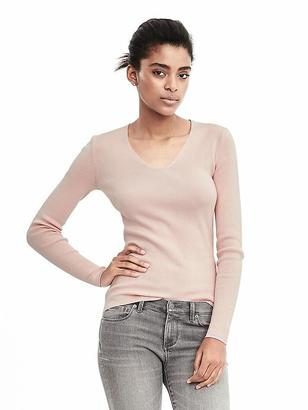 Italian Silk Cotton Ribbed Vee Pullover $78 thestylecure.com