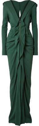 Roland Mouret Compeyson Cutout Ruffled Stretch-crepe Gown - Forest green