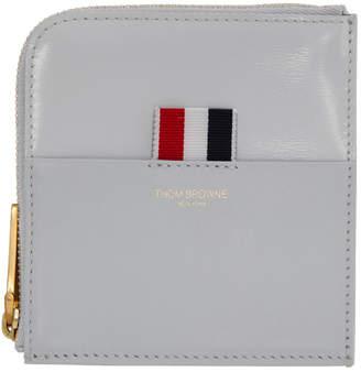 Thom Browne Grey Square Half-Zip Wallet
