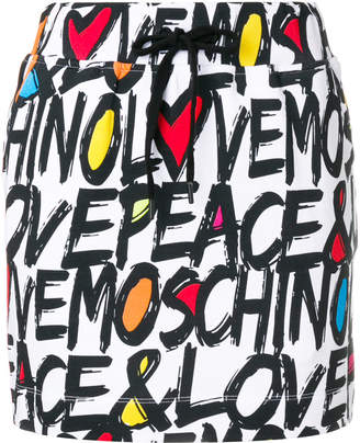 Love Moschino typography print skirt