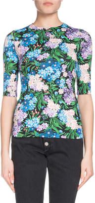 Balenciaga Elbow-Sleeve Floral-Print Jersey-Stretch Top