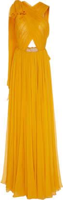 Oscar de la Renta Ruched Criss Cross Cut Out Dress