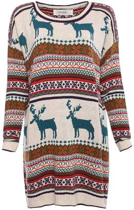 Orilife Women's Casual Christmas Reindeer Snowflake Pullover Sweaters