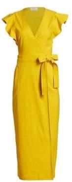 A.L.C. Walker Ruffle-Sleeve Tie Wrap Dress