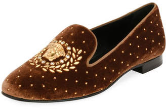 Versace Icon Medusa Velvet Smoking Slipper Loafer Flat