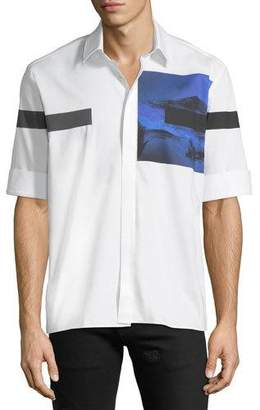 Neil Barrett Liquid Ink Square Short-Sleeve Sport Shirt