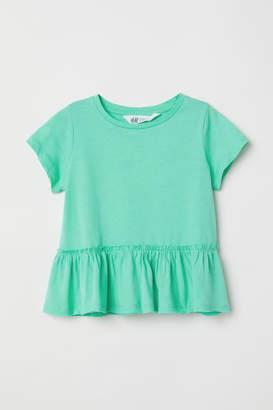 H&M Short-sleeved Flounced Top - Green
