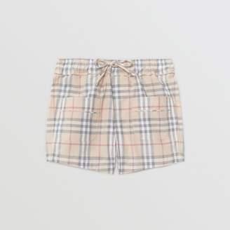 Burberry Childrens Check Cotton Shorts