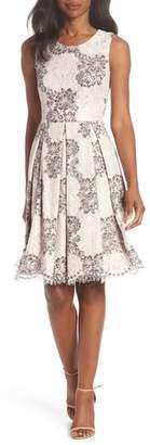 Eliza J Sleeveless Lace Fit & Flare Dress