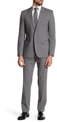 Nick Graham Grey Windowpane Two Button Peak Lapel Modern Fit Suit