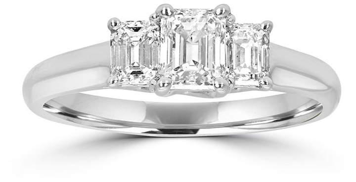 MODERN BRIDE Love Lives Forever Womens 1 CT. T.W. Emerald White Diamond 14K Gold 3-Stone Ring