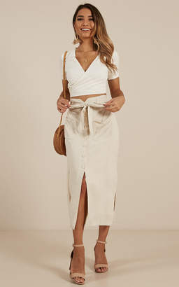 Showpo Miracle Occurrence skirt in beige