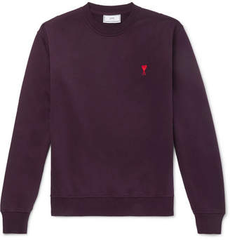 Ami Logo-Embroidered Loopback Cotton-Jersey Sweatshirt