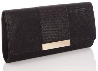 Quiz Black Shimmer Panel Clutch Bag