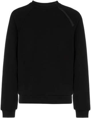 Prada black crewneck zip detail sweater
