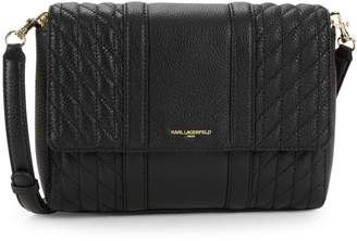 Karl Lagerfeld Paris Diamond Quilted Leather Crossbody Bag