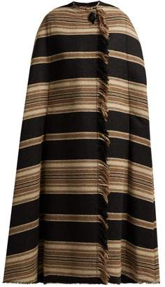 Isabel Marant - Huan Fringed Striped Cape - Womens - Black Multi