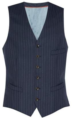 Gucci Striped Wool Waistcoat - Mens - Navy
