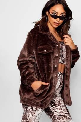 boohoo Faux Fur Trucker Jacket