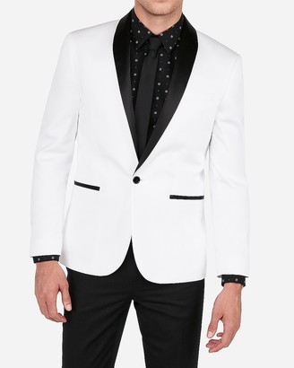 Express Slim White & Black Satin Shawl Collar Tuxedo Jacket