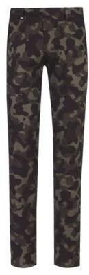 HUGO Boss Slim-fit pants in stretch cotton camouflage print 32R Dark Green