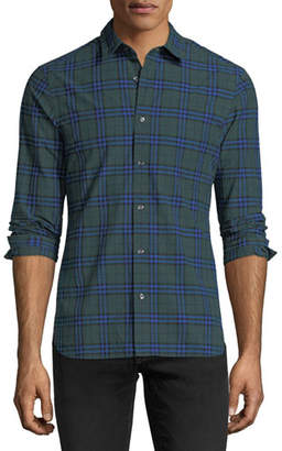 Burberry Check-Print Cotton Sport Shirt