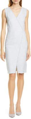 Rebecca Taylor Tailored by Cotton Blend Slub Sleeveless Sheath Dress