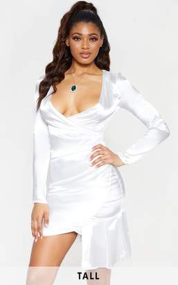 PrettyLittleThing Tall White Satin Ruched Long Sleeve Bodycon Dress