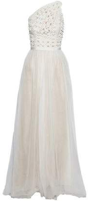 Carolina Herrera One-Shoulder Appliquéd Broderie Anglaise And Tulle Gown