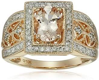 10k Rose Gold Morganite and Diamond Ring (1/3cttw