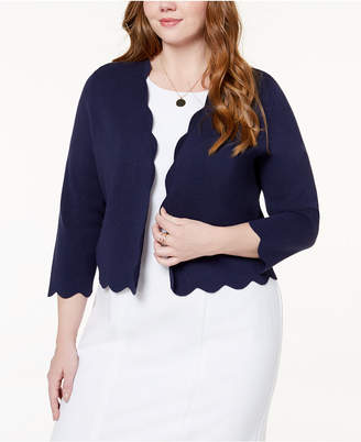 Charter Club Plus Size Scalloped Cropped Cardigan, Created for Macy's